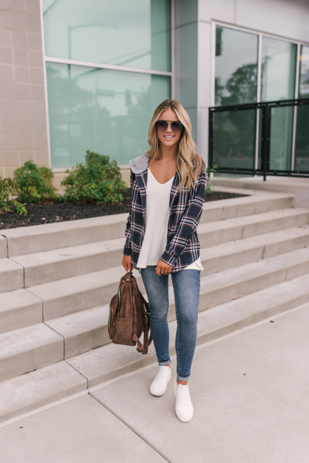 Button Down Plaid Hoodie - Navy
