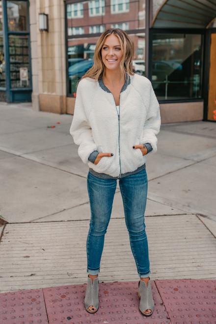 Zip Up Sherpa Jacket - White/Grey