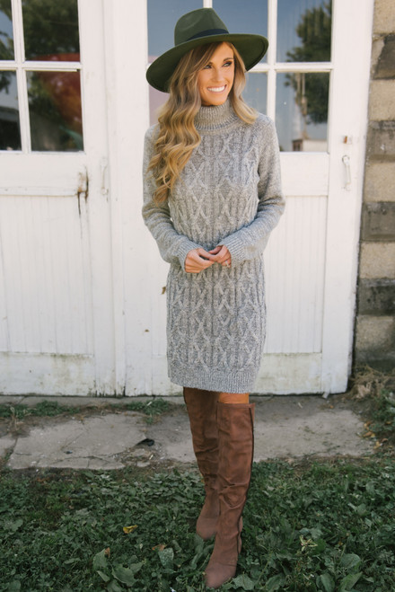 Turtleneck Cable Knit Sweater Dress - Grey