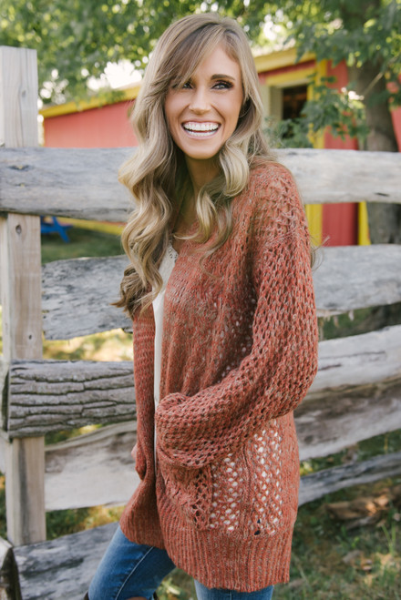 Two Tone Cable Pocket Cardigan - Rust/Taupe - FINAL SALE