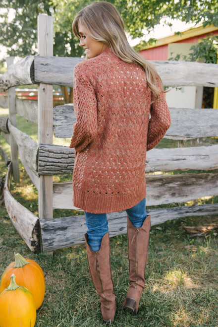 Two Tone Cable Pocket Cardigan - Rust/Taupe