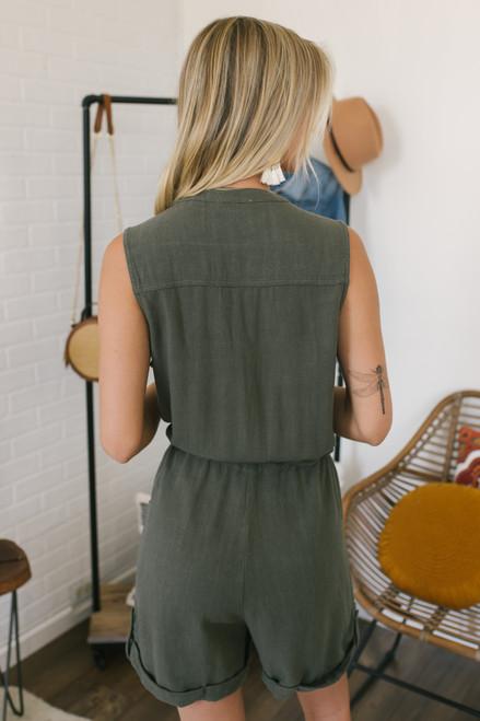 Drawstring Button Down Linen Romper - Olive  - FINAL SALE