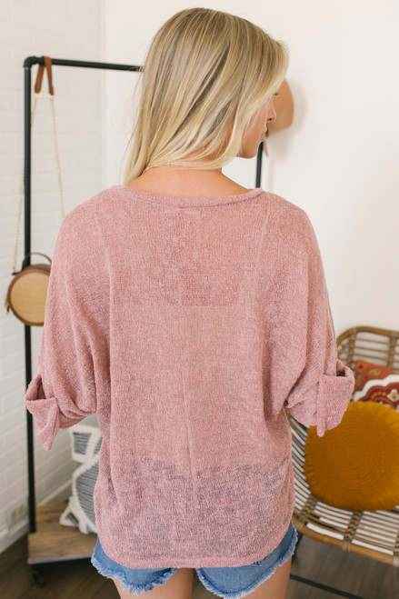 Lightweight 3/4 Sleeve Bow Detail Sweater - Mauve - FINAL SALE
