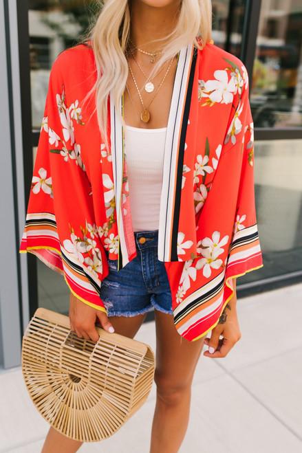 Tropical Garden Floral Crop Kimono - Red Multi  - FINAL SALE