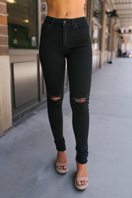 High Waist Distressed Skinny Jeans - Black