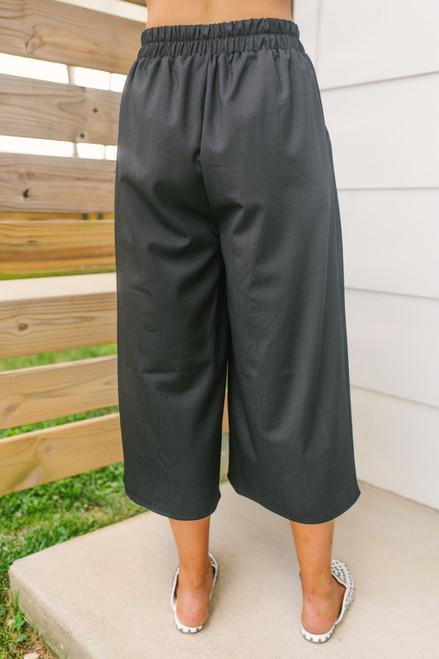 Everly High Waist Crop Culotte Pants - Black - FINAL SALE