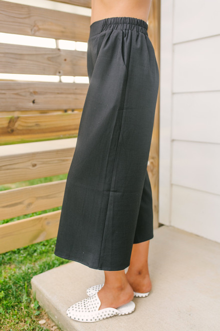 Everly High Waist Crop Culotte Pants - Black - FINAL SALE