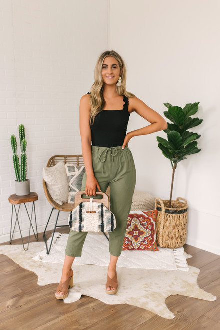 Everly Drawstring Cropped Pants - Olive - FINAL SALE