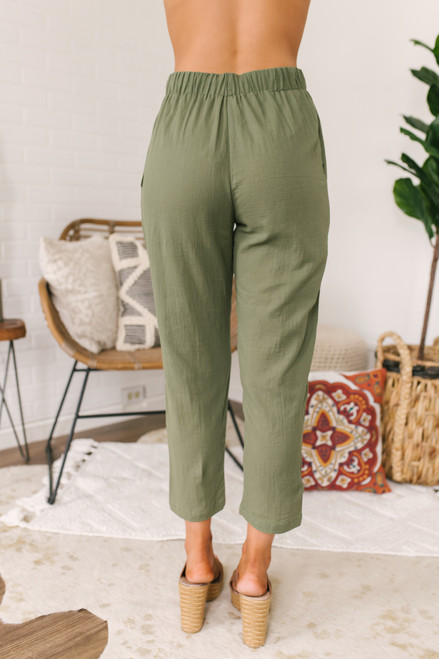 Everly Drawstring Cropped Pants - Olive