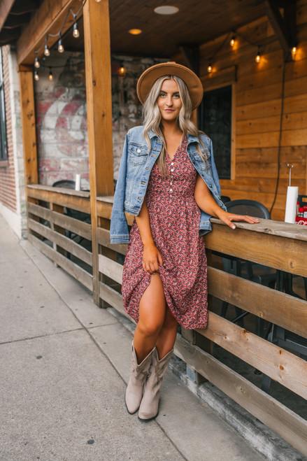 Everly Button Down Floral Midi Dress - Cinnamon