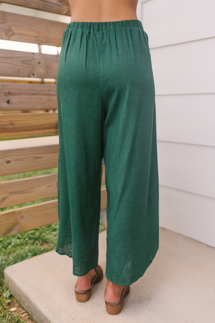 Everly Tie Front Curved Hem Pants - Forest Green