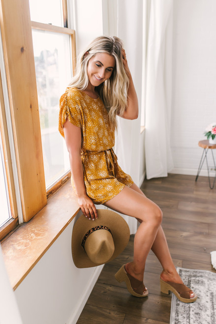 Everly Short Sleeve Printed Romper - Mustard - FINAL SALE