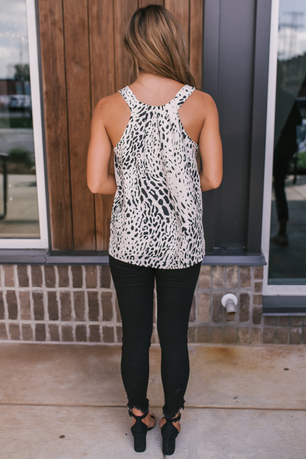 Everly V-Neck Leopard Tank - Cream/Black -  FINAL SALE