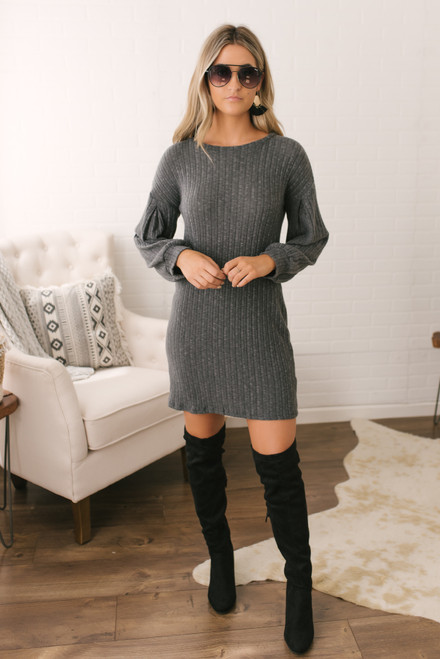 Everly Brushed Ribbed Knit Dress - Charcoal  - FINAL SALE