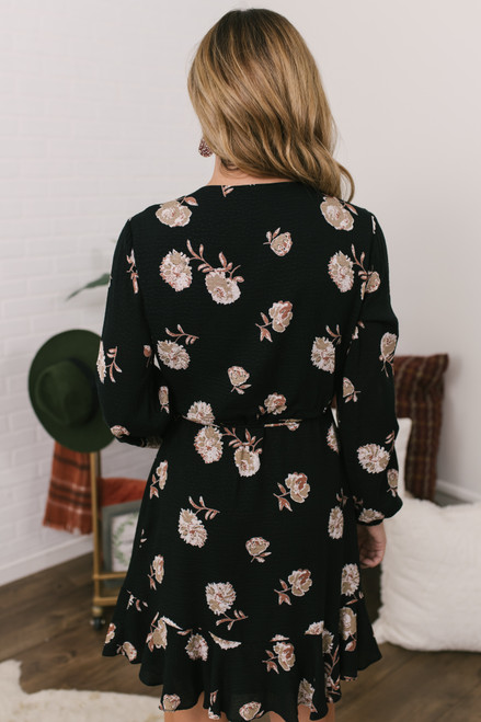 Everly Faux Wrap Floral Dress - Black - FINAL SALE