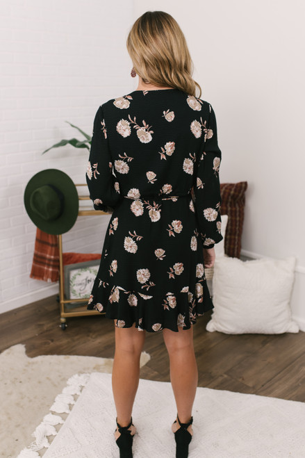 Everly Faux Wrap Floral Dress - Black