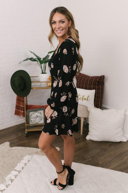 Everly Faux Wrap Floral Dress - Black