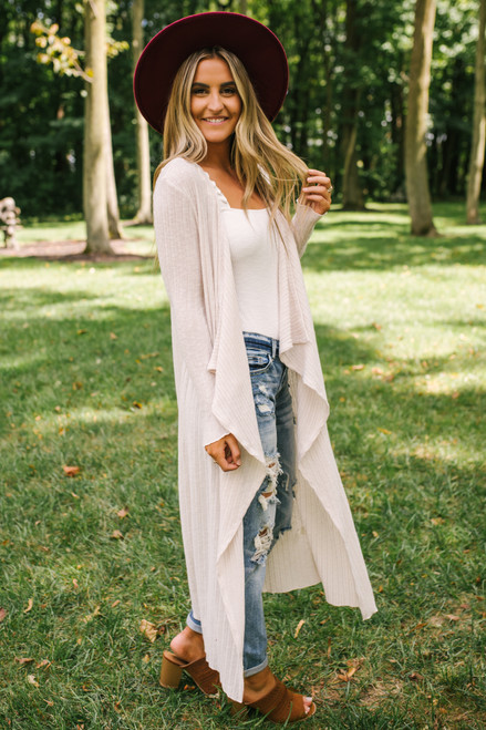 Everly Draped Ribbed Brushed Cardigan - Cream  - FINAL SALE