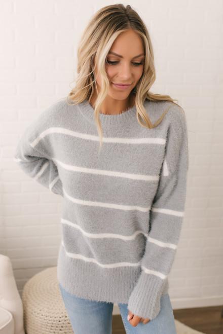 Everly Fuzzy Striped Sweater - Grey/White  - FINAL SALE