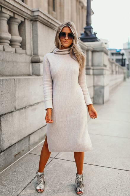 Everly Turtleneck Sweater Dress - Taupe