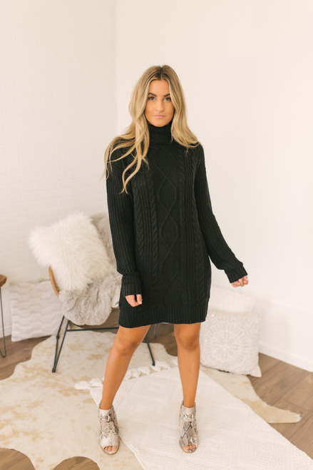 Everly Turtleneck Cable Sweater Dress - Black