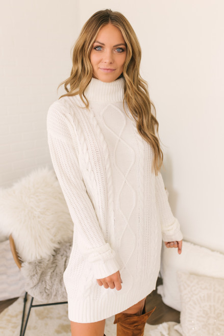 Everly Turtleneck Cable Sweater Dress - Ivory