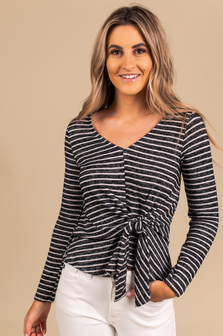 Everly Tie Front Striped Top - Black/White