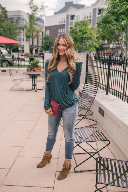 Everly Surplice Knit Top - Hunter Green