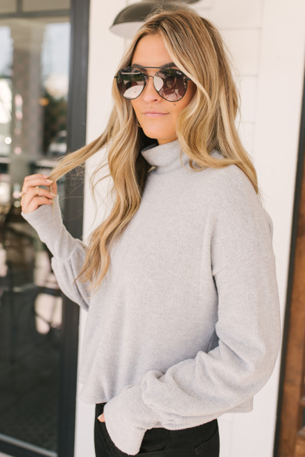 Everly Brushed Turtleneck Sweater - Heather Grey - FINAL SALE