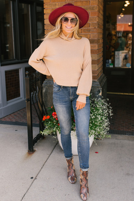 Everly Brushed Turtleneck Sweater - Taupe  - FINAL SALE