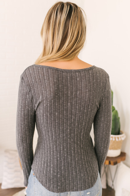 Everly Ribbed Henley Top - Charcoal  - FINAL SALE