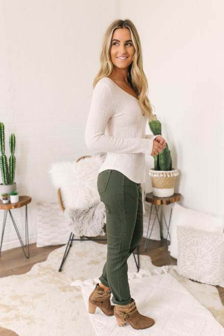 Everly Ribbed Henley Top - Cream - FINAL SALE