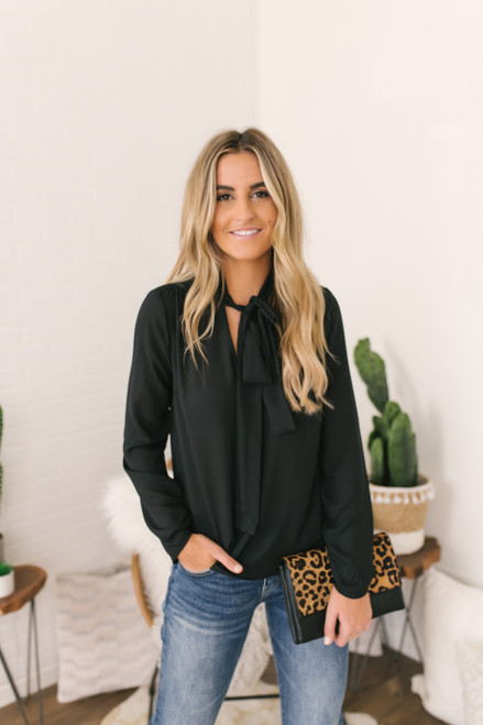 Everly Tie Front Chiffon Blouse - Black