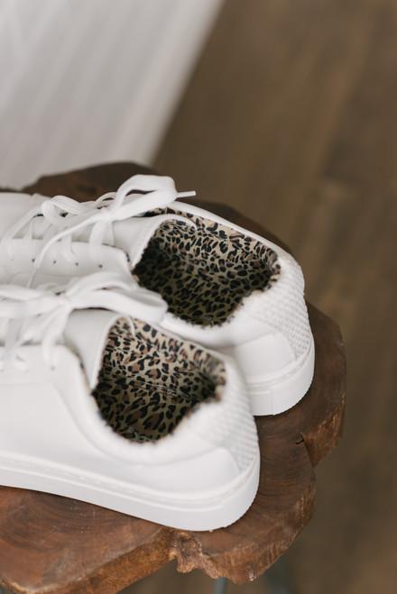 Peek-a-Boo Leopard Platform Sneakers - White