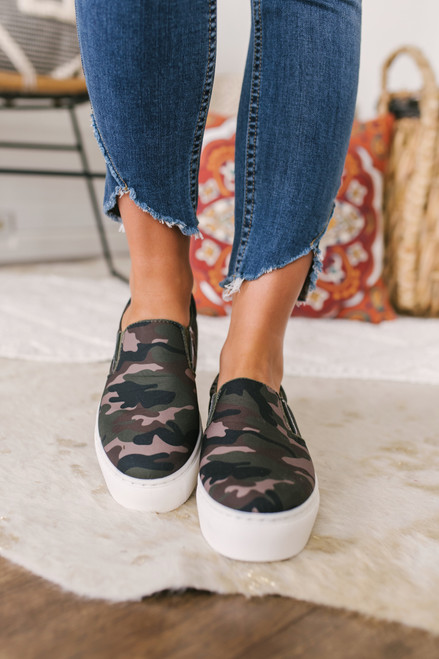 Slip On Platform Sneakers - Camo