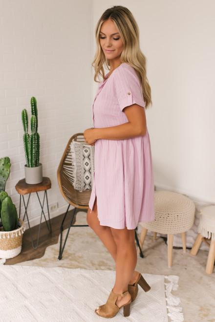 Button Down Babydoll Dress - Lilac Mauve  - FINAL SALE