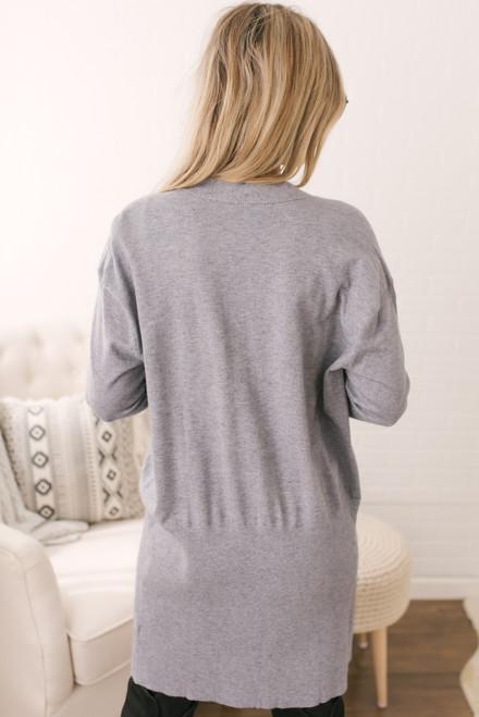 Ribbed Detail Pocket Cardigan - Grey - FINAL SALE