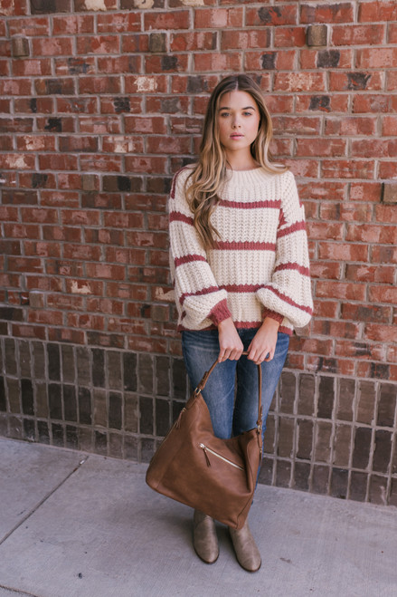 Wide Neck Striped Sweater - Ivory/Rose