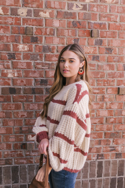 Wide Neck Striped Sweater - Ivory/Rose - FINAL SALE