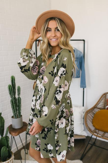 Keyhole Floral Satin Babydoll Dress - Olive Multi  - FINAL SALE