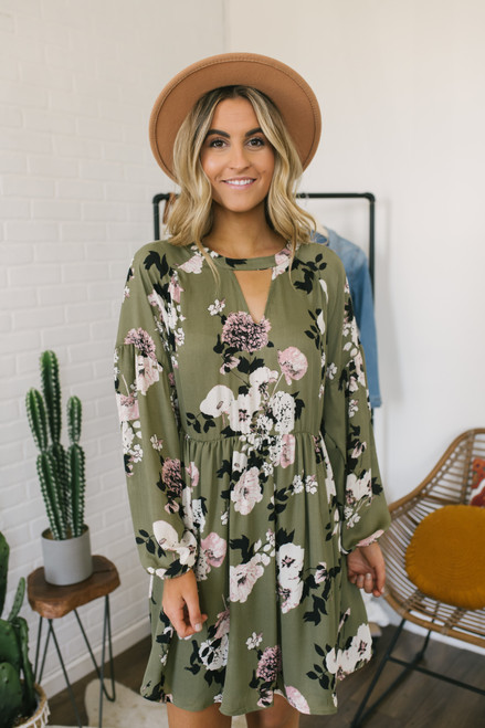 Keyhole Floral Satin Babydoll Dress - Olive Multi