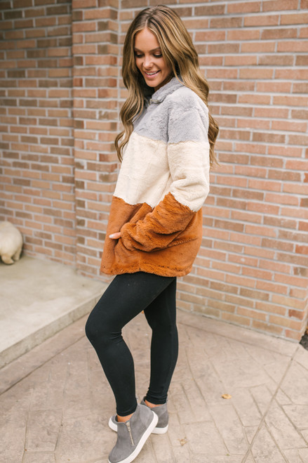 Colorblock Half Zip Cozy Pullover - Grey/Vanilla/Rust - FINAL SALE