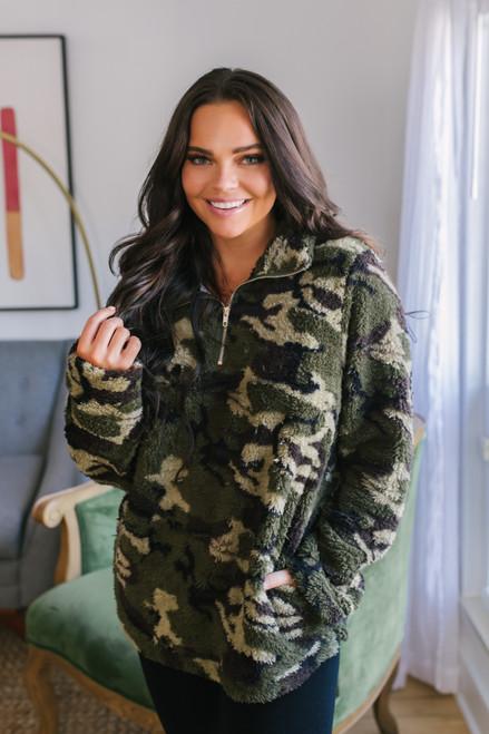 Half Zip Cozy Camo Pullover - Army Green