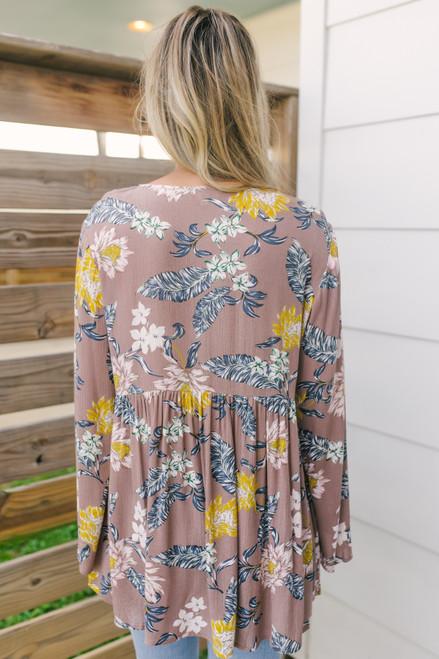 V-Neck Floral Babydoll Top - Mocha Multi