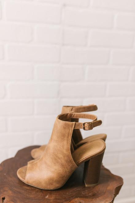 Park Avenue Faux Leather Peep Toe Booties - Tan