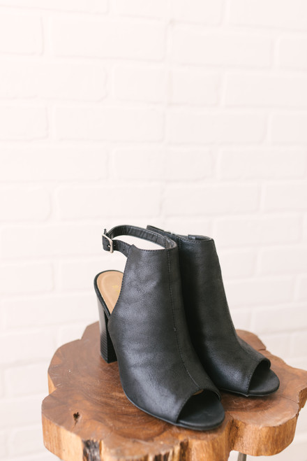 Park Avenue Faux Leather Peep Toe Booties - Black