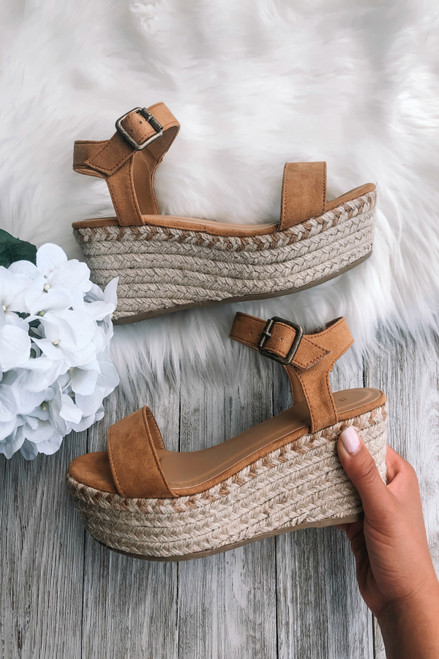 Going Places Faux Suede Espadrille Wedges - Tan