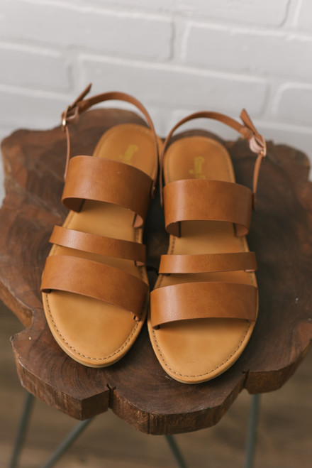 Faux Leather Triple Strap Sandals - Tan
