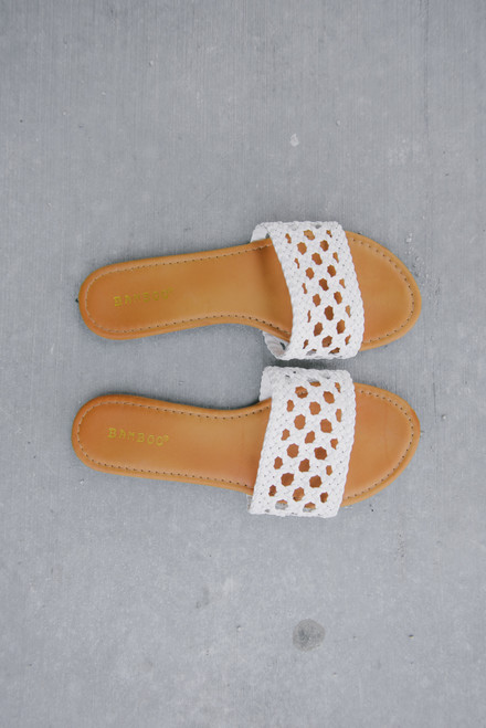 Moonlight Bay Faux Leather Crochet Slides - White