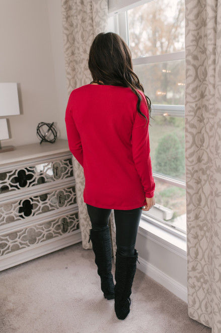 Lightweight V-Neck Sweater - Red